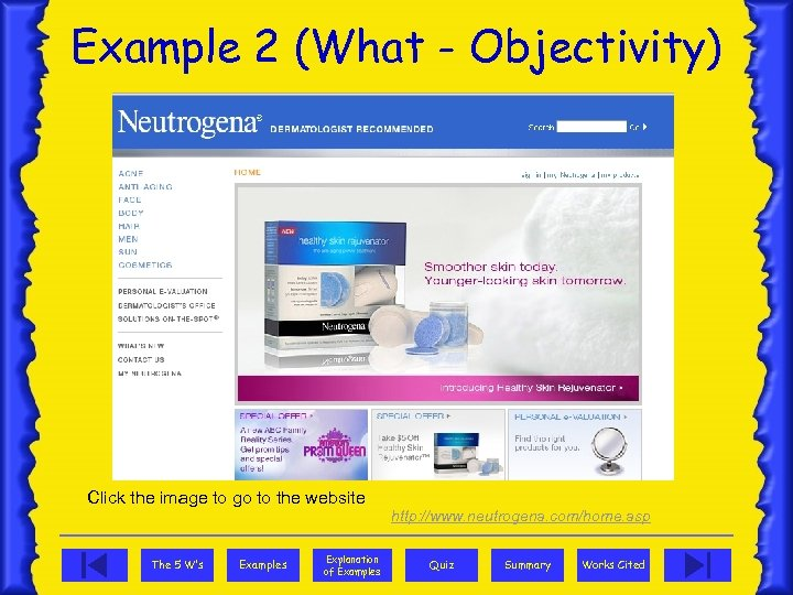Example 2 (What - Objectivity) Click the image to go to the website http: