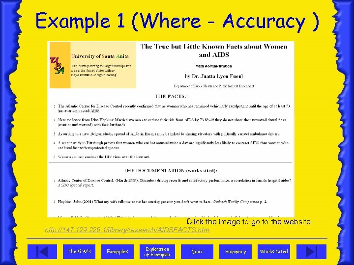 Example 1 (Where - Accuracy ) Click the image to go to the website