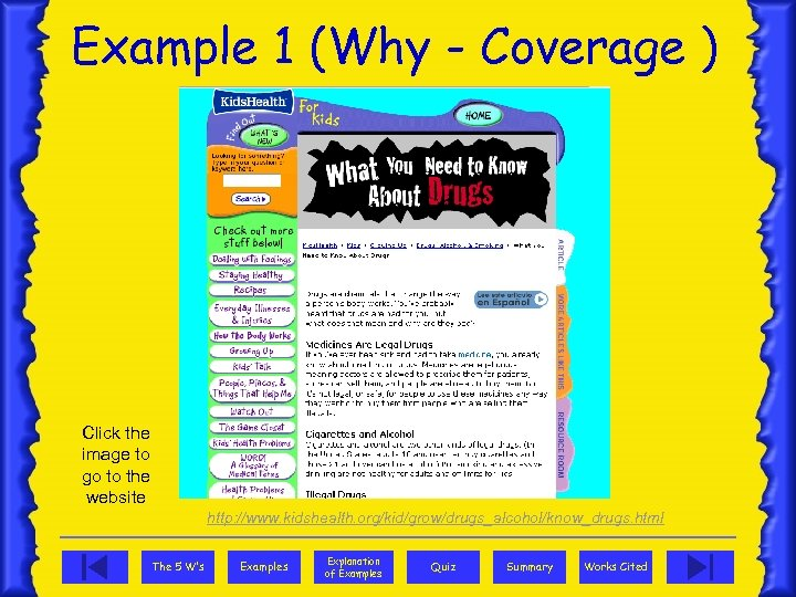 Example 1 (Why - Coverage ) Click the image to go to the website