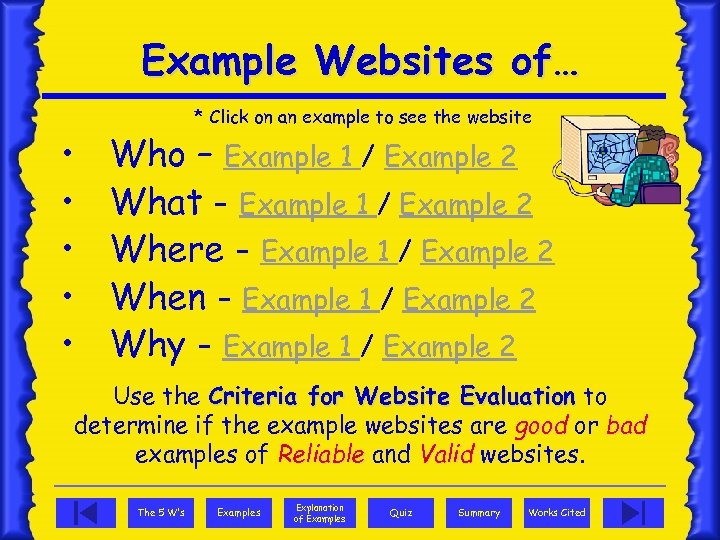 Example Websites of… • • • * Click on an example to see the
