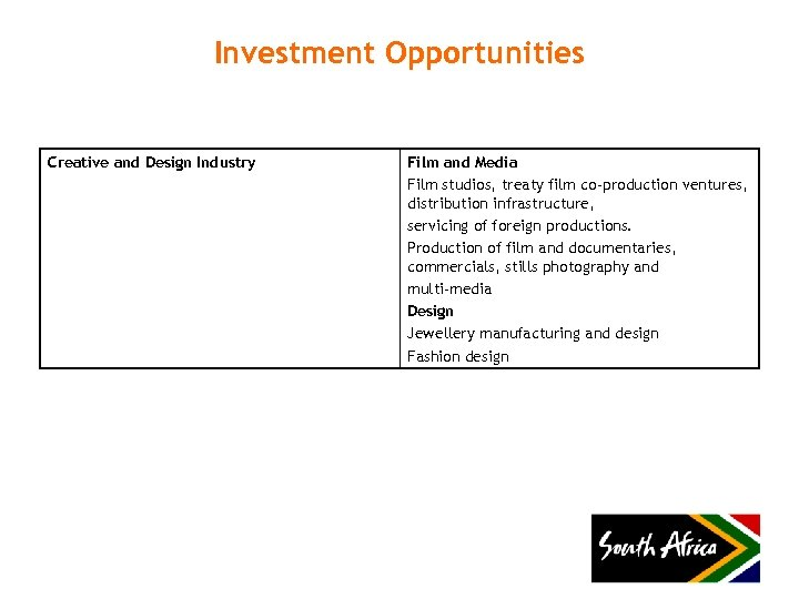 Investment Opportunities Creative and Design Industry Film and Media Film studios, treaty film co-production