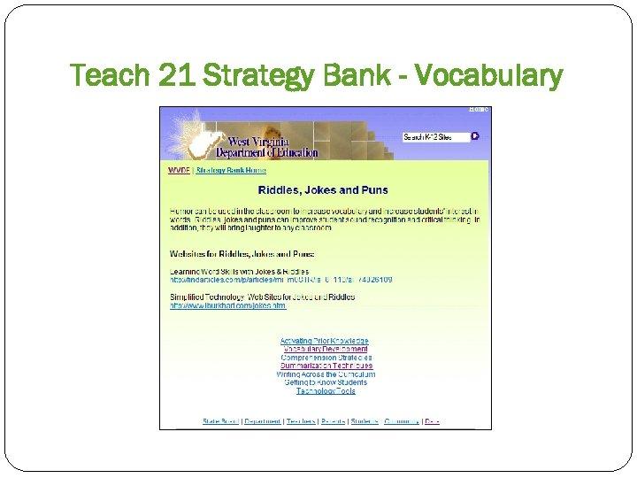 Teach 21 Strategy Bank - Vocabulary