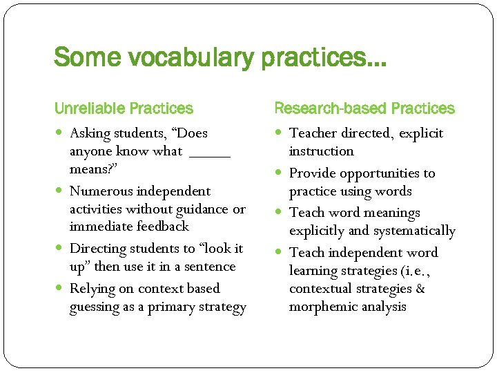 """Some vocabulary practices… Unreliable Practices Asking students, """"Does anyone know what _____ means? """""""
