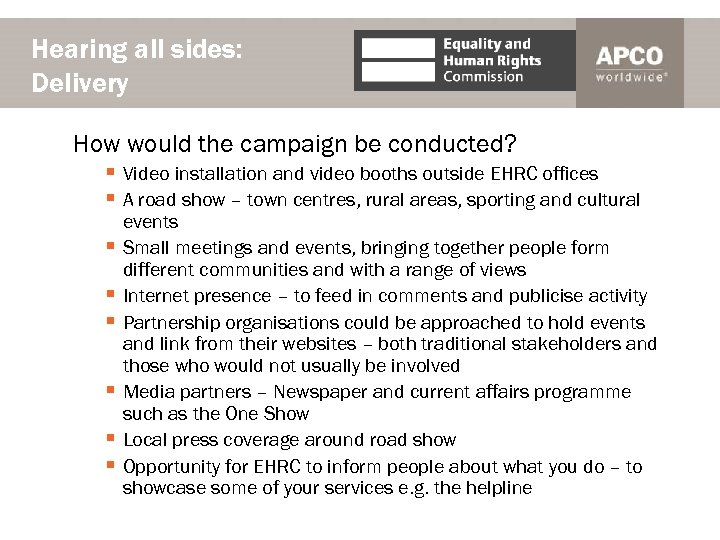 Hearing all sides: Delivery How would the campaign be conducted? § Video installation and
