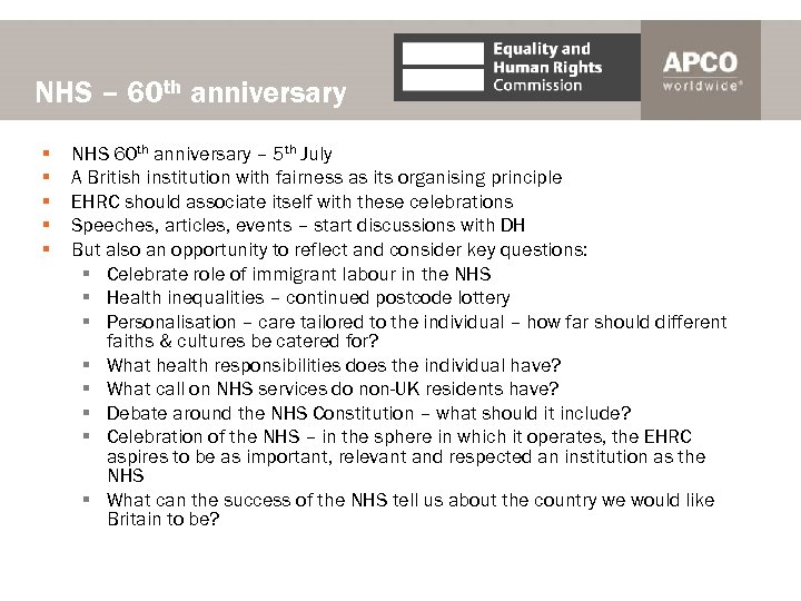 NHS – 60 th anniversary § § § NHS 60 th anniversary – 5