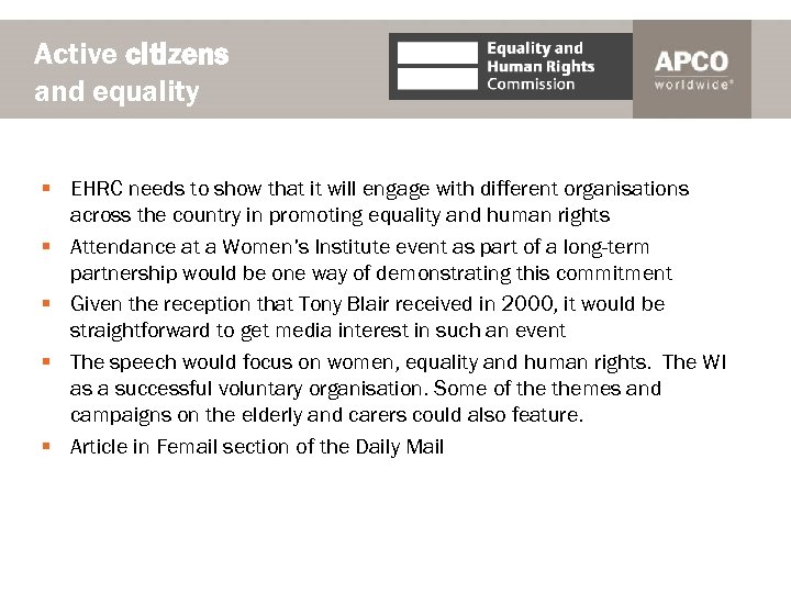 Active citizens and equality § EHRC needs to show that it will engage with