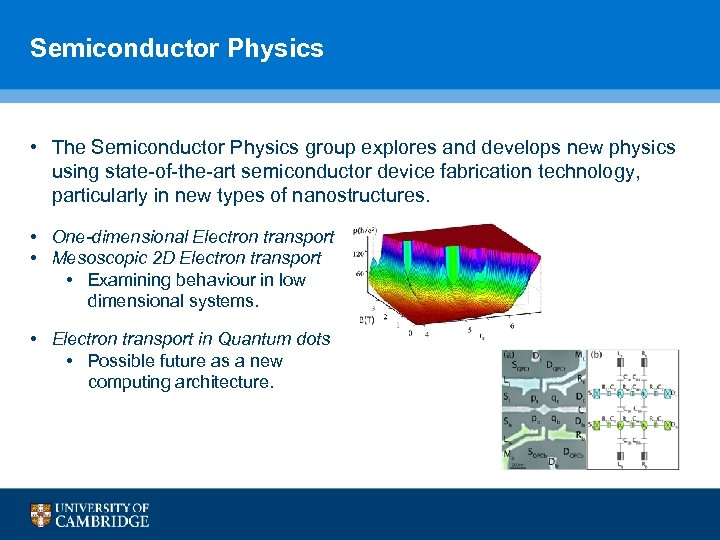 Semiconductor Physics • The Semiconductor Physics group explores and develops new physics using state-of-the-art
