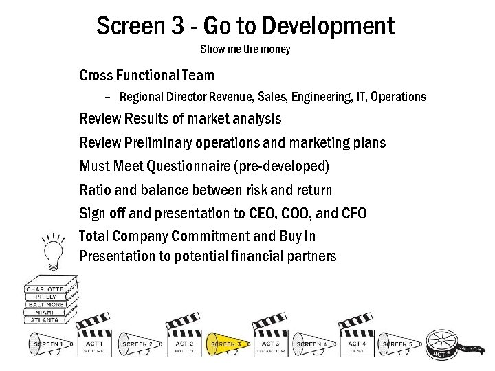 Screen 3 - Go to Development Show me the money Cross Functional Team –