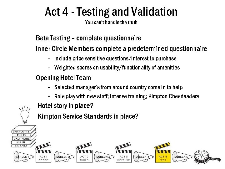 Act 4 - Testing and Validation You can't handle the truth Beta Testing –
