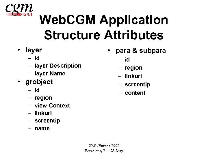 Web. CGM Application Structure Attributes • layer – id – layer Description – layer