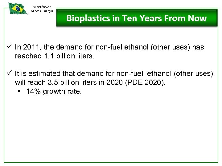 Ministério de Minas e Energia Bioplastics in Ten Years From Now ü In 2011,