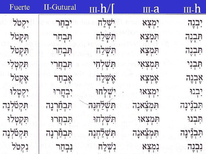 Fuerte II-Gutural III-h/[ III-a III-h