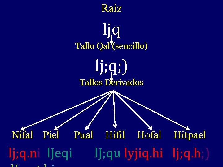 Raiz ljq Tallo Qal (sencillo) lj; q; ) Tallos Derivados Nifal Piel lj; q.