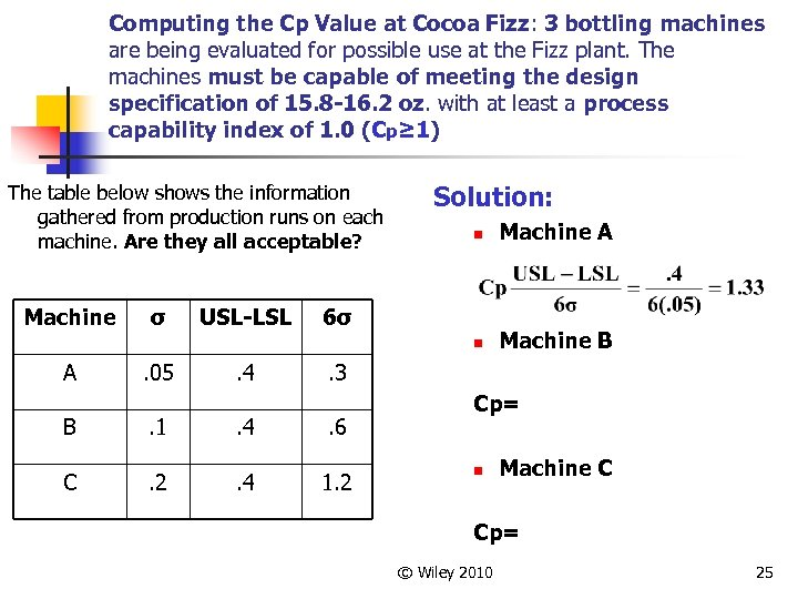 Computing the Cp Value at Cocoa Fizz: 3 bottling machines are being evaluated for