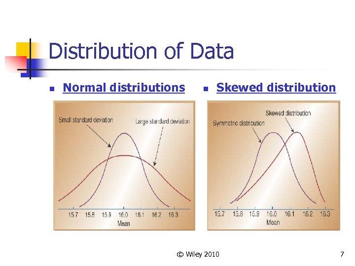 Distribution of Data n Normal distributions n Skewed distribution © Wiley 2010 7