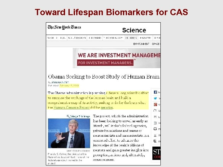 Toward Lifespan Biomarkers for CAS