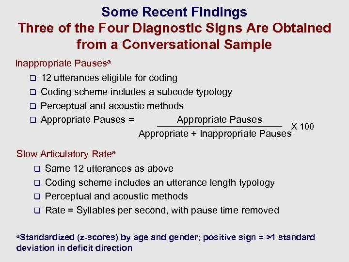 Some Recent Findings Three of the Four Diagnostic Signs Are Obtained from a Conversational