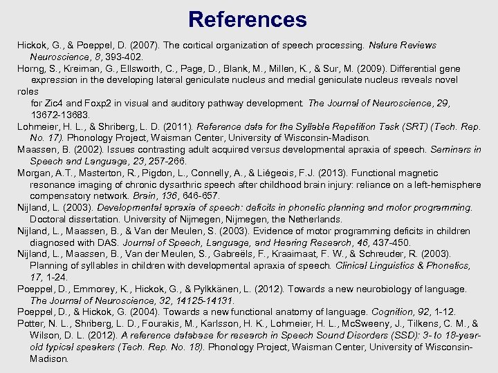 References Hickok, G. , & Poeppel, D. (2007). The cortical organization of speech processing.