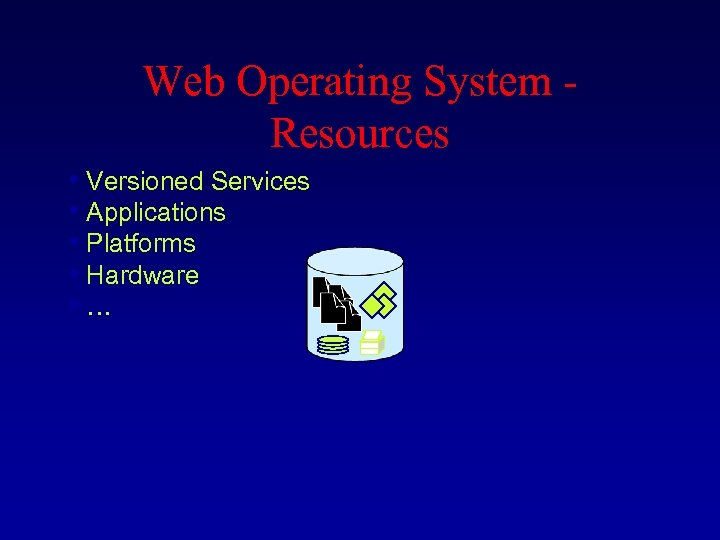 Web Operating System - Resources • Versioned Services • Applications • Platforms • Hardware