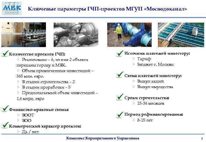 Ключевые параметры ГЧП-проектов МГУП «Мосводоканал» Количество проектов ГЧП: Ø Реализовано – 6, из них