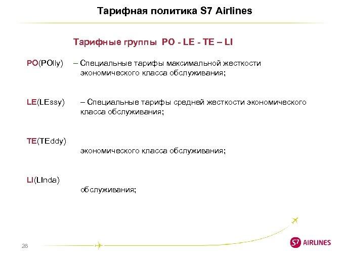 Тарифная политика S 7 Airlines Тарифные группы PO - LE - TE – LI