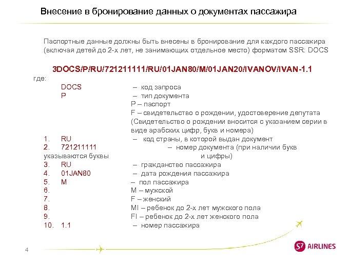 Внесение в бронирование данных о документах пассажира Паспортные данные должны быть внесены в бронирование