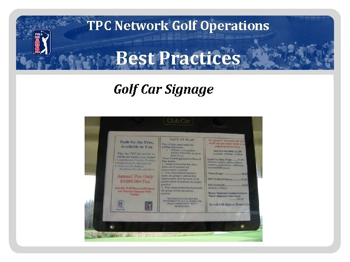 TPC Network Golf Operations Best Practices Golf Car Signage