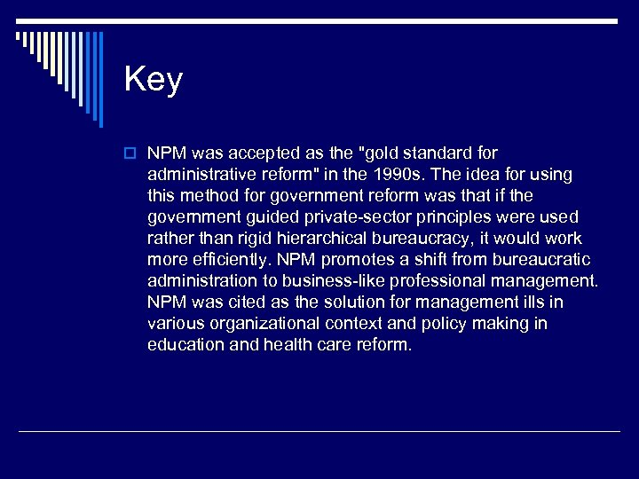 Key o NPM was accepted as the