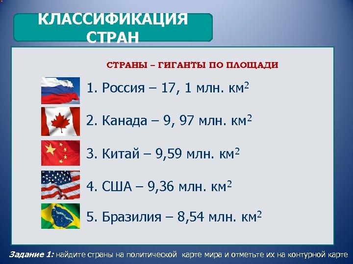 КЛАССИФИКАЦИЯ СТРАНЫ – ГИГАНТЫ ПО ПЛОЩАДИ 1. Россия – 17, 1 млн. км 2