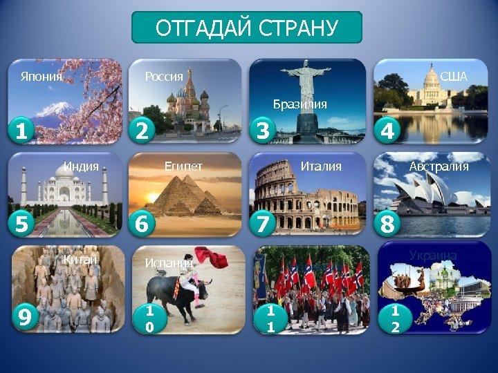 ОТГАДАЙ СТРАНУ Япония Россия США Бразилия 1 2 Индия 5 Египет 6 Китай 9