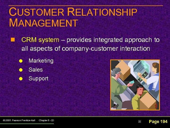 CUSTOMER RELATIONSHIP MANAGEMENT n CRM system – provides integrated approach to all aspects of
