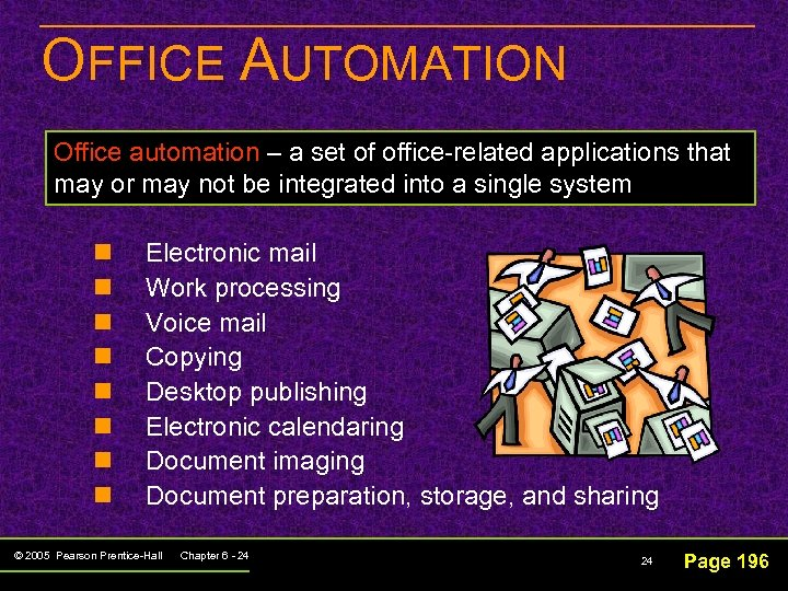 OFFICE AUTOMATION Office automation – a set of office-related applications that may or may