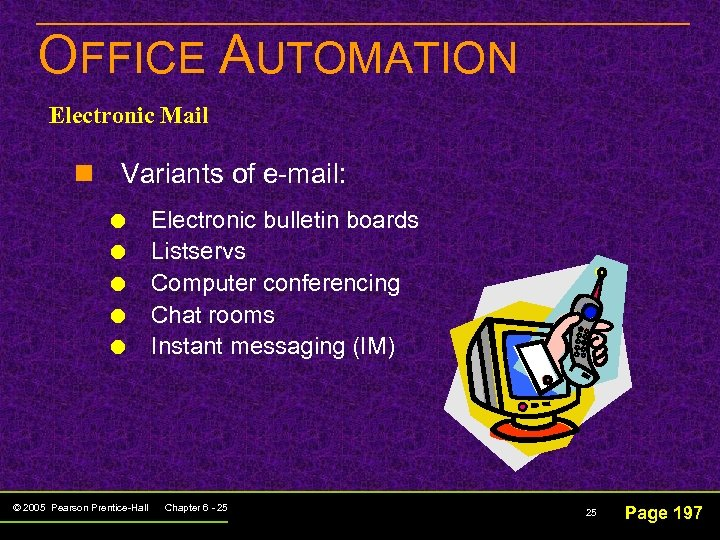 OFFICE AUTOMATION Electronic Mail n Variants of e-mail: © 2005 Pearson Prentice-Hall Electronic bulletin