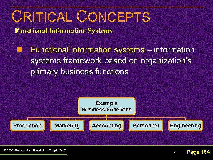 CRITICAL CONCEPTS Functional Information Systems n Functional information systems – information systems framework based