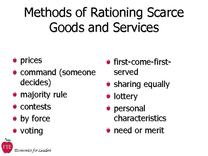 Methods of Rationing Scarce Goods and Services prices command (someone decides) majority rule contests