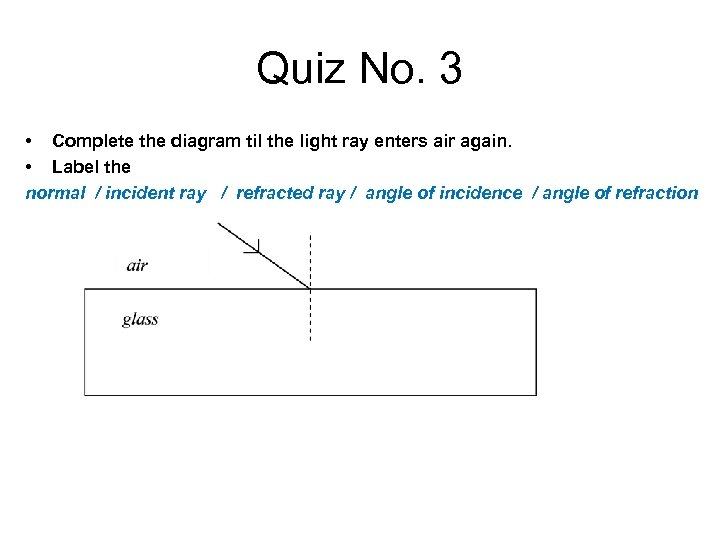 Quiz No. 3 • Complete the diagram til the light ray enters air again.