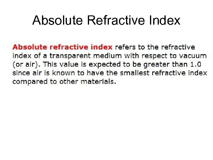 Absolute Refractive Index
