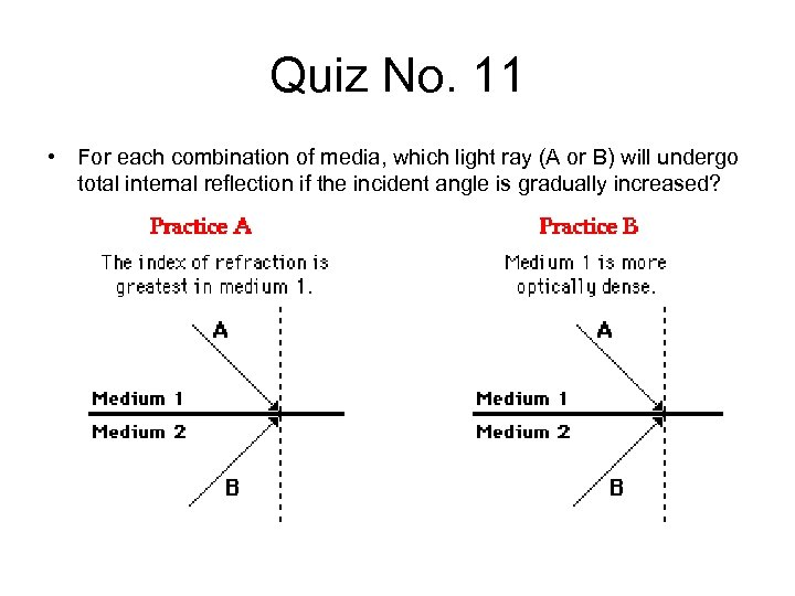 Quiz No. 11 • For each combination of media, which light ray (A or