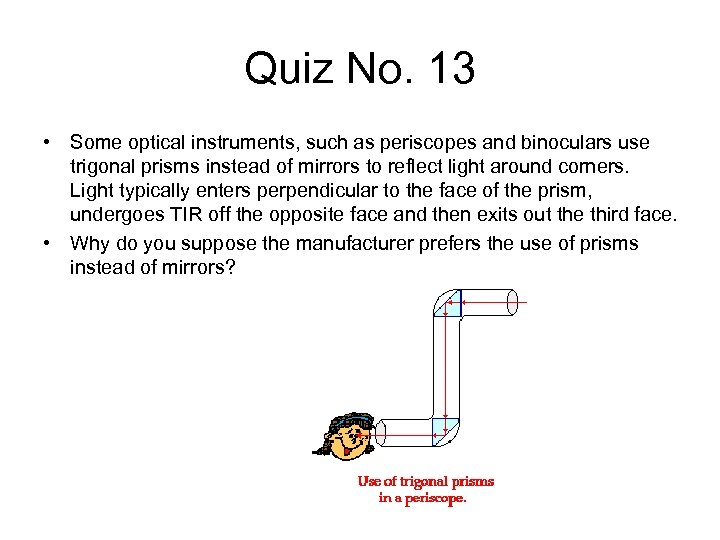 Quiz No. 13 • Some optical instruments, such as periscopes and binoculars use trigonal