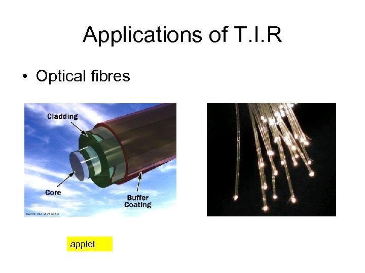Applications of T. I. R • Optical fibres applet