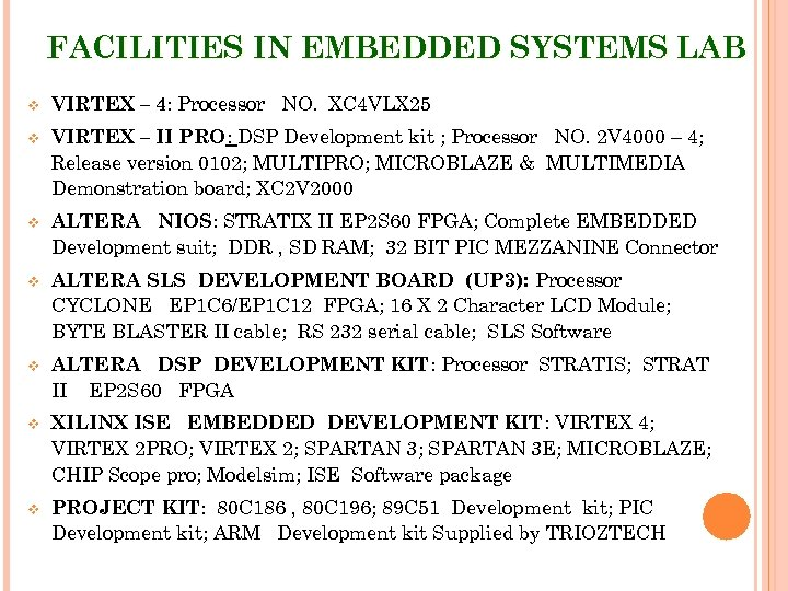 FACILITIES IN EMBEDDED SYSTEMS LAB v VIRTEX – 4: Processor NO. XC 4 VLX
