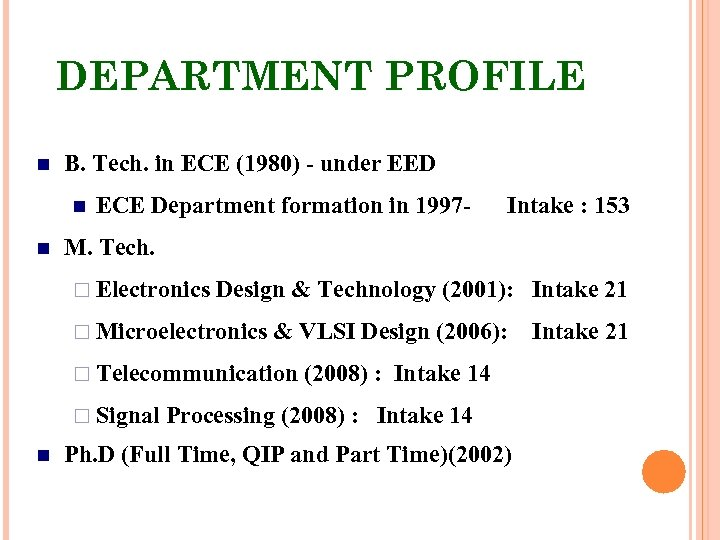 DEPARTMENT PROFILE B. Tech. in ECE (1980) - under EED ECE Department formation in