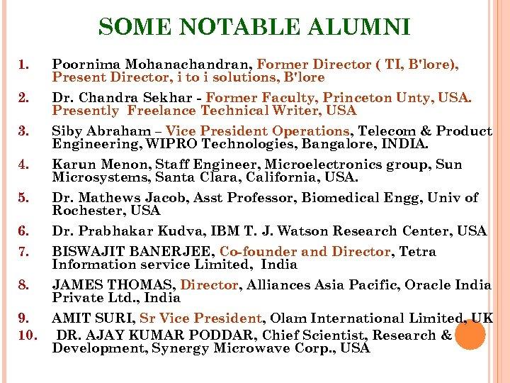 SOME NOTABLE ALUMNI 1. Poornima Mohanachandran, Former Director ( TI, B'lore), Present Director, i