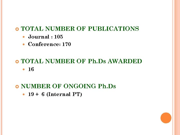 TOTAL NUMBER OF PUBLICATIONS Journal : 105 Conference: 170 TOTAL NUMBER OF Ph.