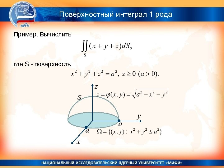 Поверхностный интеграл 1 рода Пример. Вычислить где S - поверхность