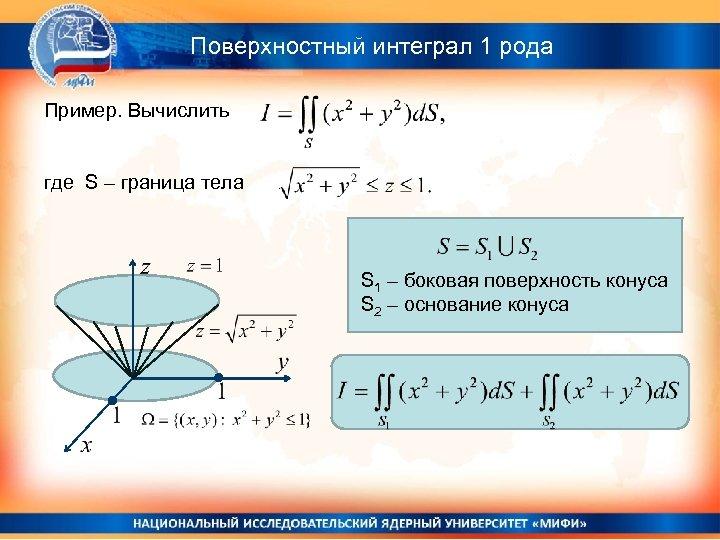 Поверхностный интеграл 1 рода Пример. Вычислить где S – граница тела S 1 –