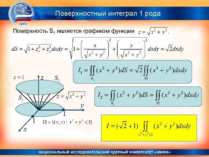 Поверхностный интеграл 1 рода Поверхность S 1 является графиком функции
