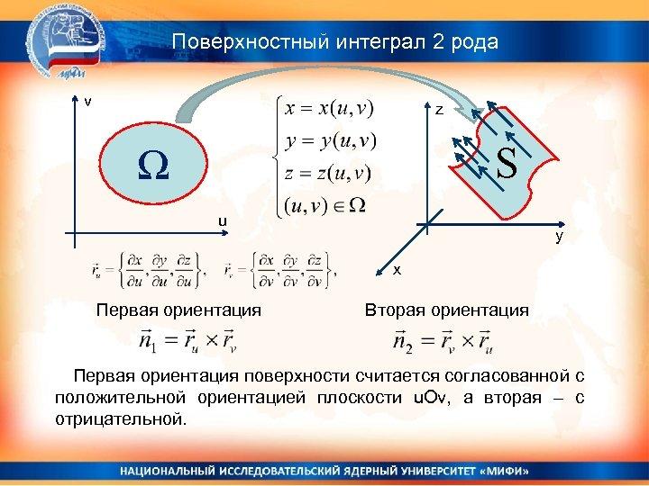 Поверхностный интеграл 2 рода v z S Ω u y x Первая ориентация Вторая