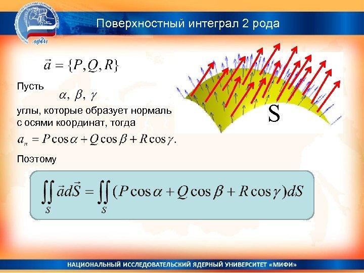 Поверхностный интеграл 2 рода Пусть углы, которые образует нормаль с осями координат, тогда Поэтому