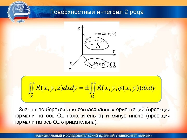 Поверхностный интеграл 2 рода Знак плюс берется для согласованных ориентаций (проекция нормали на ось